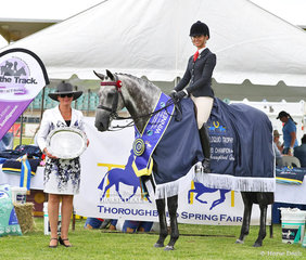 "Toni Ambrose and Courtney Larard's entry ""Set In Diamonds"" was declared the winner of the Vaniloquio Trophy - Thoroughbred Qualities Class. Pictured with judge Francene Treneman."