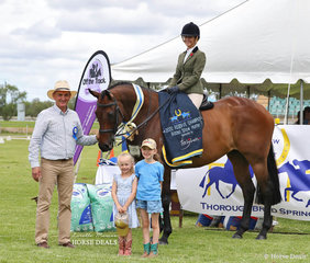 "Sara Sheppard's exhibit ""Ambassador"" was sashed Reserve Champion Ridden Show Hunter, pictured with judge Michael Lynch and Hugh Bowman's girls Paige and Bambi."