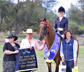 "Steph O'Connor and ""Hellinacell"" (A.K.A. Supreme) had a hugely successful show, finishing up with being awared the POSEIDON EQUINE Grand Champion Ridden Thoroughbred of the Show. They're pictered here with judges Julie Butler, Jo McKinnon and Poseidon Equine representative Linda Lord."