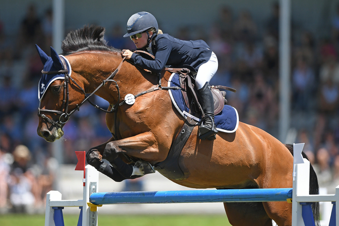 Annabel Francis and her German-import La Quinara flying to victory in the POLi Payments FEI World Cup Qualifier in Dannevirke this afternoon. Photo by Kerry Marshall/KAMPIC