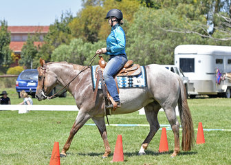 Strawberry Kisses ridden by Ella McNiece in the Youth Trail Class