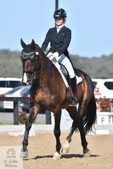 Maddison Growcott rode her, 'BZ Flynn' by Fiji R to take fourth place with 71.850% in the strong Horseland Junior Freestyle