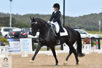 Natasha Moody and her home produced mare, 'Diamonte Noir' by Shiraz Black out of a Carbine mare and with a little help from Coldplay, produced a good test to take second place in the Young Rider Freestyle with 71.338%