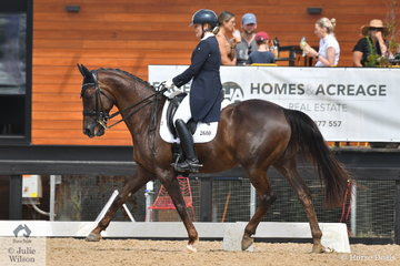 Brooke Mance rode , 'Callum Park Freya' by Falsterbo out of a Regardez Moi mare to take third place in the Complete Fire Supply Co Young Rider Freestyle on the final day of the Homes & Acreage Boneo Park Summer Dressage Championships.