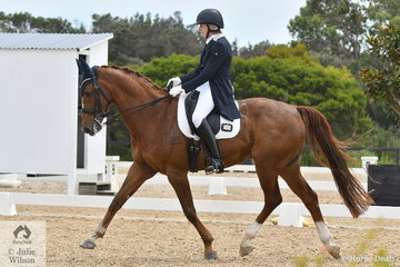Heather Gee chose the entertaining music from the film , LaLa Land to ride her, 'KH Ambrose' to in the Grand Prix Freestyle. Their performance added to the overall enjoyment of the final day of the Homes & Acreage Boneo Park Summer Dressage Championships.