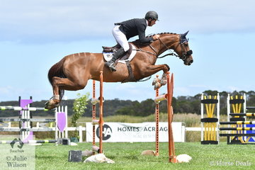 Brook Dobbin rode the Wendy Keddel bred, 'Miranda MVNZ' to win the Future Stars class on the final day of the  Homes and Acreage World Wetlands Showjumping Championships at Boneo Park.