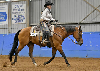 Bev O'Keefe and Zips Two Blazes, competing in Ranch Riding.