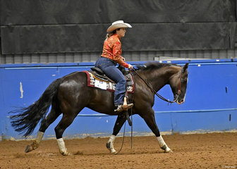 Nadine Kay and RR Lethal Black Tie competing in the reining