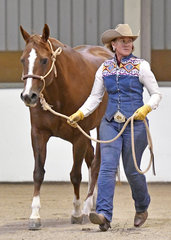 Annie Boyd and Annlee Assess Me showing in Ranch Halter