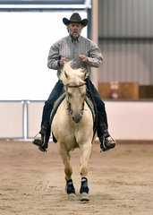 Valentina Whiz  and Terry Loughnan competing in the Reining.