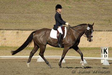 April Docherty from NSW rode Deltry Belucci in the Capricorn Feed Bins Preliminary 1.3 to score 63%.