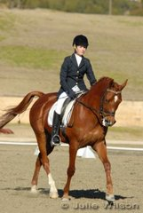 Cassandra Brett from NSW rode Jaytee Desert Flarei in the Capricorn Feed Bins Preliminary 1.3 to score 63%.