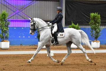 Louise Curran looks delighted with her, 'Cil Dara Gandalf' on their way to fifth place in the Grand Prix Freestyle.