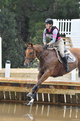Christina Grear's, 'Roger That' looks very confident landing in the water on his way to third place in section 5 of the Pryde's CCI**.