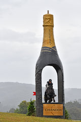 The Domaine Chandon bottle is one of the iconic Wandin Park fences. Sophie Fox is pictured  riding 'Mr Pig' through the bottle on the Horseland CCI**** course.