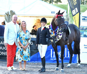 """Champion All Stars Thoroughbred Classic for off the track registered Thoroughbreds winner """"Like A Shark"""" (ATSB Leica Shark) and Lillian Mills. Pictured with two of the three judges of this event Roger Fitzhardinge and Charlotte Inglis."""