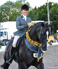 """Steph Barrington was thrilled to win the PAUL AUSTIN EQUITATION & CBC TRAVEL Grand Champion Ridden Show Hunter with """"Rebelle"""". They galloped away with a $1,000 CBC Travel voucher as well as $1,000 cash!"""