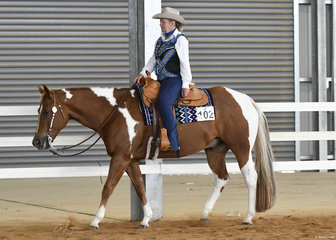 Debra Cameron and Whata Zipper Snipper in the Senior Horse Western Pleasure.
