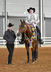 Novice Amateur jackpot Western Pleasure winner Vicki Larson and Icee Zipper Blues, with Mikayla Gaunt.