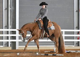 Peta Hicks riding SRQ Kissin Georgia in the Youth Trail