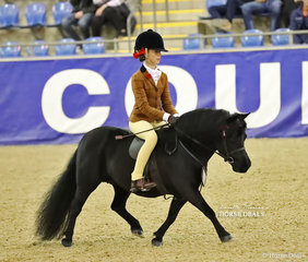 """Reserve Champion The DOUGLAS FAMILY Child's Ridden Shetland Pony event """"Carreg Wen Athena"""", owned by Debbie Machar and ridden by Annabelle Richardson."""