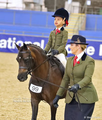 """Martine Duncan's """"Berwyn Swallow"""" was ridden by Chloe Valentine Duncan and led by Kirsty Harper-Purcell in the RPSBS NSW Show Hunter Leading Rein Pony."""