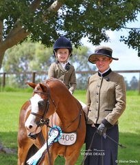 """Alannah Hay rode """"Eagle Park Achilles"""", owned by Mackenzie Slater, led by Carlie Elfar in the RPSBS NSW Show Hunter Leading Rein event."""