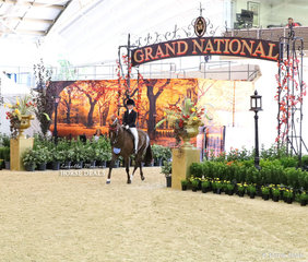"""Maddison Ball entering the """"Central Park in Autumn"""" themed arena display, riding """"Marena Royal Flame"""". They finished Top 10 placing in the MELBROOK PARK Grand National Rider 9 & under 12 years event."""