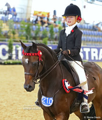 """Elka Torrens was awarded 3rd place in the MELBROCK PARK Rider 9 & under 12 years event, riding """"Divine Festive Occasion""""."""