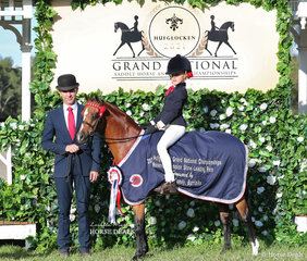 """The TRAYNOR FAMILY Reserve Champion Leading Rein Pony """"Langtree Jiminy Cricket"""", Ridden by Matilda Kape, led by Michael Gates and owned by Lisa Cleary Gutierrez."""