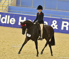 "Claudia Hughes riding Naomi Brincau's ""Royalwood Song Book""  in the LANGTREE STUD Child's Large Pony event."