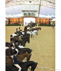 All competitors lined up before the judges after their workouts in the FRICKER FAMILY Child's Show Hunter Hack event.