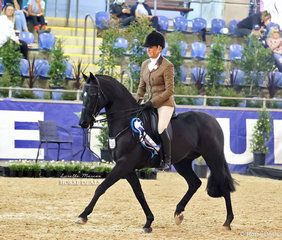 """Sallie Slater rode Jessica Sharp's """"Kingsfield Arlington"""" to take 3rd place in the PRYDES EASIFEED Small Show Hunter Galloway."""