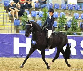 """Third placegetter in the EURORIDER AUSTRALIA Rider 21 & under 30 years event Abbie-Lee Dennis, riding """"Araluen Motown""""."""