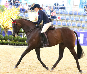 """Amelia Refalo happy with """"DP Gisele"""" at the end of their workout in the """"M.R. BREECHES"""" Small Saddle Horse event."""