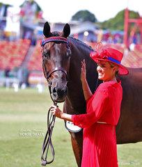 Winner of the ANSA Saddlehorse Gelding, any age, over 16hh 'Kryptonyte' exhibited by Eden Richardson..