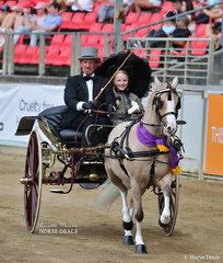 Winners of the Authentic Period Turnout Class Corinne Collins & Andrew James entry with 'Nawarrah Park Pink Panther'.