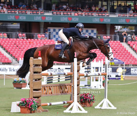 Charlie Eason rode 'Oaks Coolangatta' to fifth place in the Young Riders Grand Prix.