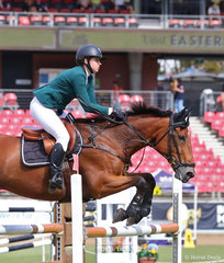 Lucy Evans riding 'Vivajoy' to fourth place in the Young Riders Grand Prix.