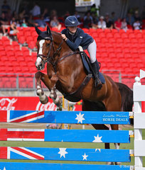 Winner of the Young Riders Grand Prix,  Table A  Anneliese Wansey and 'Kolora Stud St Patrick'.