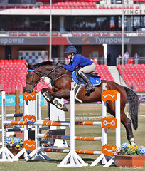 Amelia Empringham and her horse Cantano NZ in the Area 4 Pony Club Area Showjump Teams event.