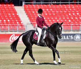 Indiana Hogan rode 'Black Orchid' in the Pony Club Rider 11 years and under 13 years class.