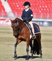 Photographed working out in the Pony Club Rider 11 & under 13 years class Miriam Uren, riding 'Leadervale Pebbles'.