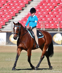 Working out in the Pony Club Rider 13 years and under 15 years class is Charlie Welsh riding 'Mains Matilda'.