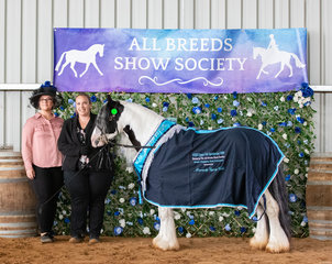 The hours of scrubbing and blow drying certainly paid off for owner Sam Patton and Smiths Aladdins Tear, being award the Grand Champion Best Presented of the Show. Here they are sharing the moment with breeder Smith's Gypsy Cobs