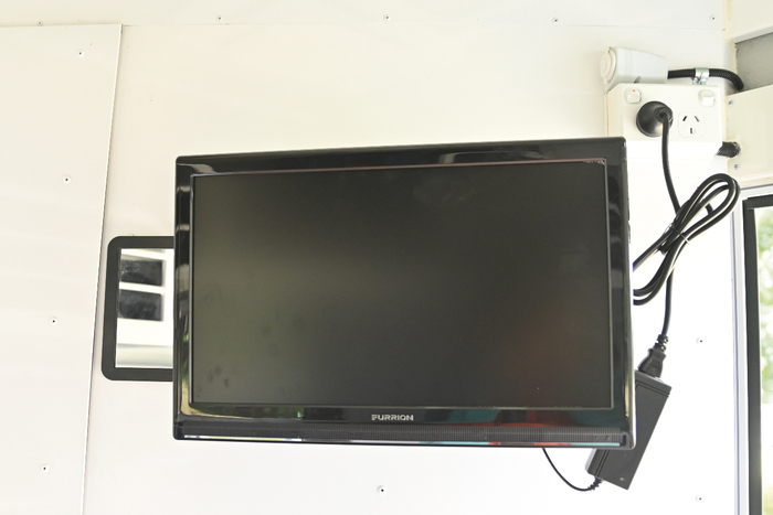 "The 19"" TV/DVD player runs on 12V and 240V. Infact the whole float operates on 12V and 240V."