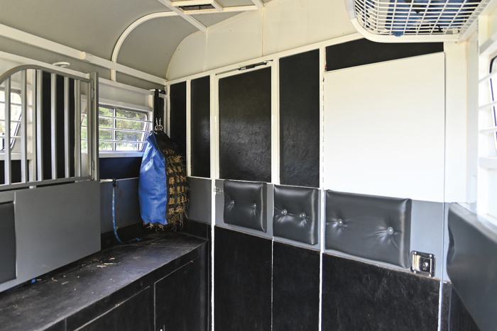 "Ready to load horse number one. The door to the living is streamlined to look almost invisible. There is rubber everywhere, on the floor up the walls and totally covering the chest boxes. ""I wanted this for anti slip,"" says Bianca. ""It also reduces the noise and makes it easy to clean out the float."""