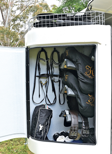 There is plenty of room in the tack box for everything two horses will need. The lockable box can remain on the outside with the back of the float fully closed up.