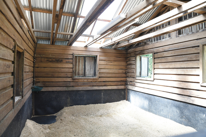 One of the huge 5m x 5m boxes in the old barn with rubber on the floor and up the wall.