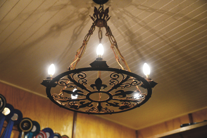 The ornate chandelier in the tack room.